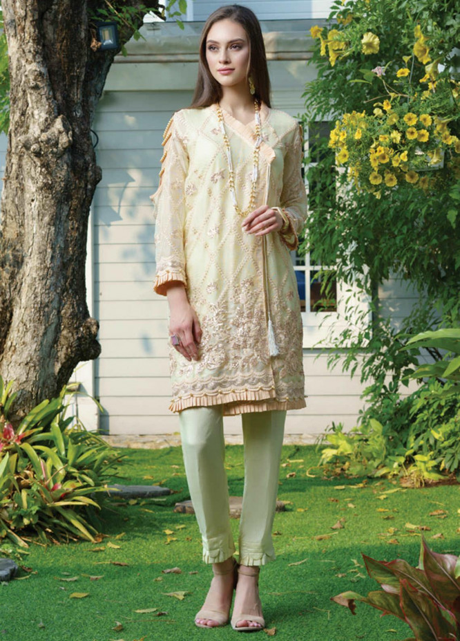 Al Zohaib Embroidered Net Unstitched Kurties AZ20F D-05 - Formal Collection