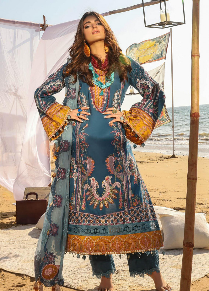 Alif by AJR Couture Embroidered Lawn Suits Unstitched 3 Piece AJR21A ALL-07 BLUE BELL - Summer Collection