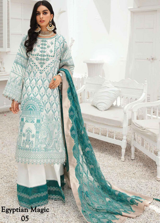 Anamta by Mahwish Ishtiaq Embroidered Lawn Suits Unstitched 3 Piece ANT21E 05 Egyptian Magic - Luxury Collection