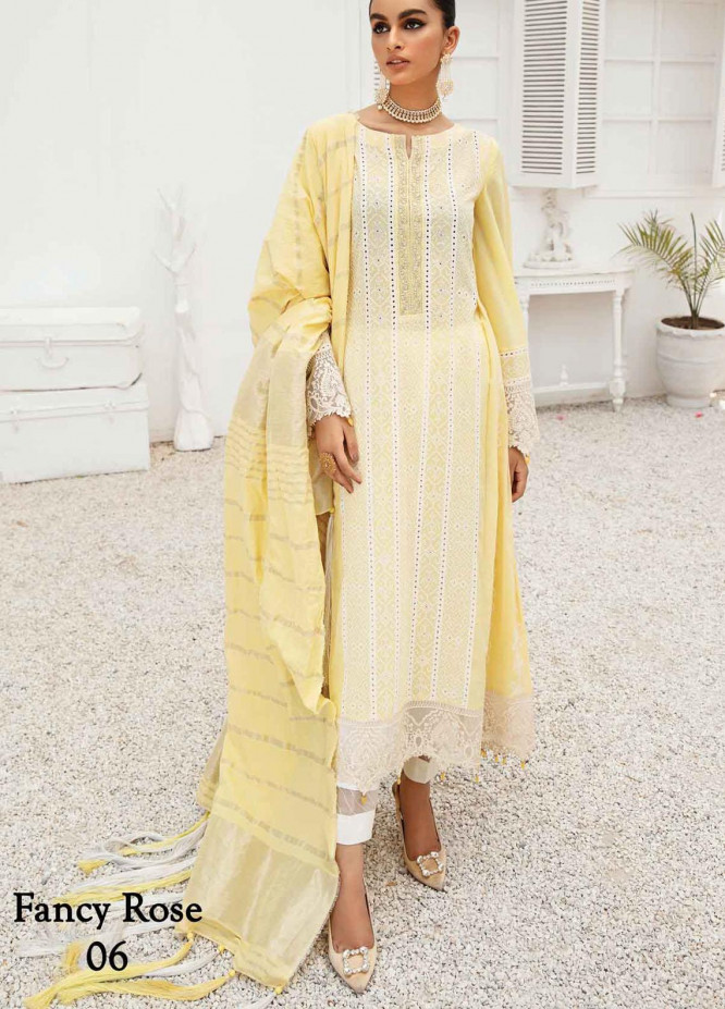 Anamta by Mahwish Ishtiaq Embroidered Lawn Suits Unstitched 3 Piece ANT21E 06 Fancy Rose - Luxury Collection
