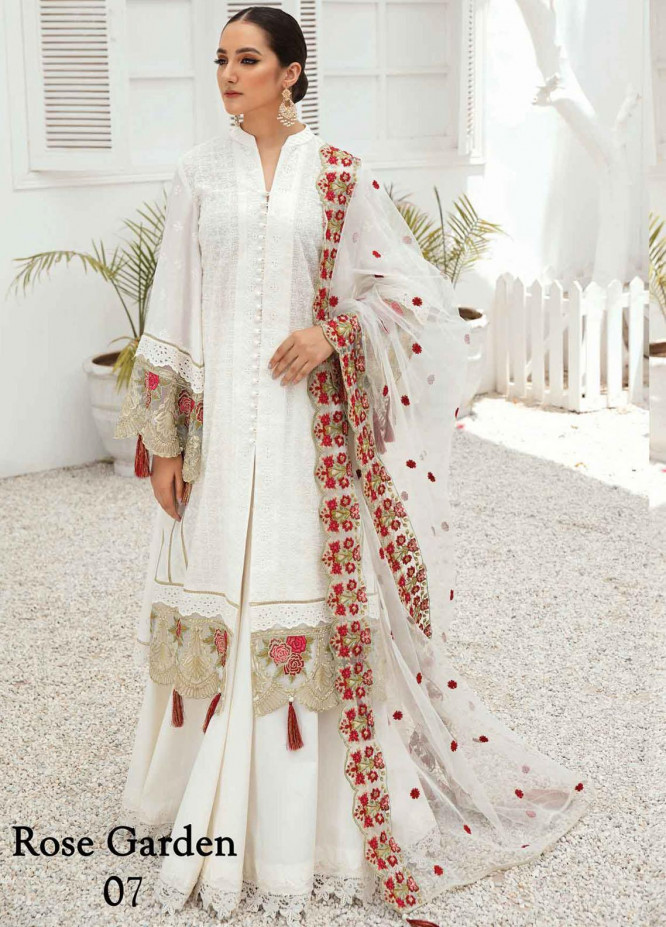 Anamta by Mahwish Ishtiaq Embroidered Lawn Suits Unstitched 3 Piece ANT21E 07 Rose Garden - Luxury Collection