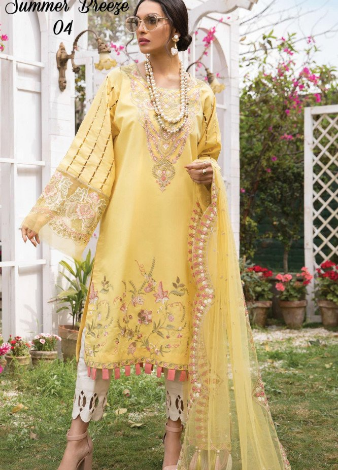 Anamta by Mahwish Ishtiaq Embroidered Lawn Suits Unstitched 3 Piece ANT21L 04-Summer Breeze - Luxury Collection