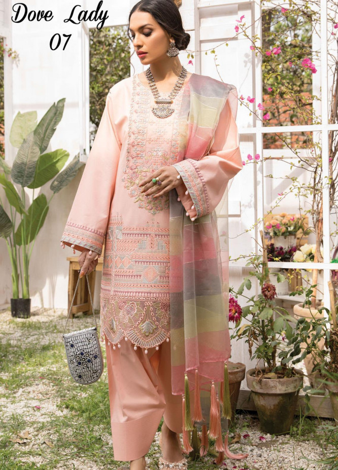 Anamta by Mahwish Ishtiaq Embroidered Lawn Suits Unstitched 3 Piece ANT21L 07-Dove Lady - Luxury Collection