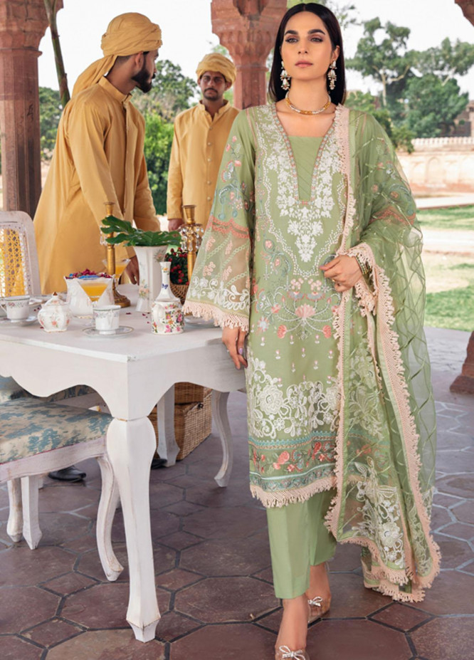 Andaaz by Ramsha Embroidered Lawn Suits Unstitched 3 Piece RSH21A 101 - Luxury Collection