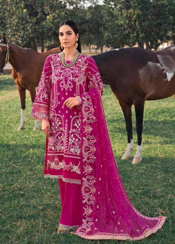 Andaaz by Ramsha Embroidered Lawn Suits Unstitched 3 Piece RSH21A 107 - Luxury Collection