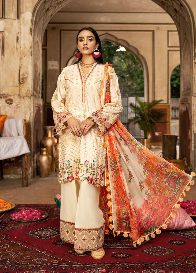 Andaaz By Zarif Embroidered Lawn Suits Unstitched 3 Piece ZF21A 05 Chandni - Summer Collection