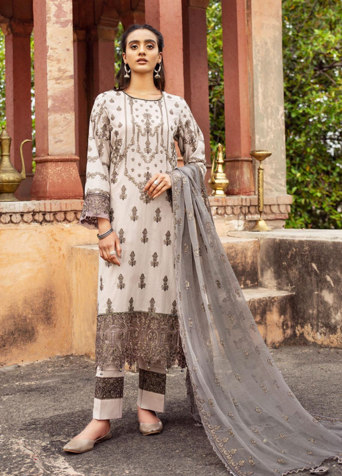 Andaaz By Zarif Embroidered Lawn Suits Unstitched 3 Piece ZF21A 09 Gulshan - Summer Collection