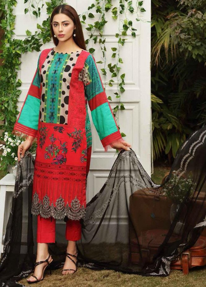Aniq by Charizma Embroidered Lawn Suits Unstitched 3 Piece CRZ21A 11 - Summer Collection