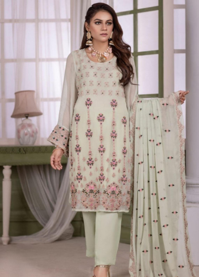 Arang by Ketifa Embroidered Chiffon Suits Unstitched 3 Piece KT21AN-0303 Magical Green - Luxury Collection
