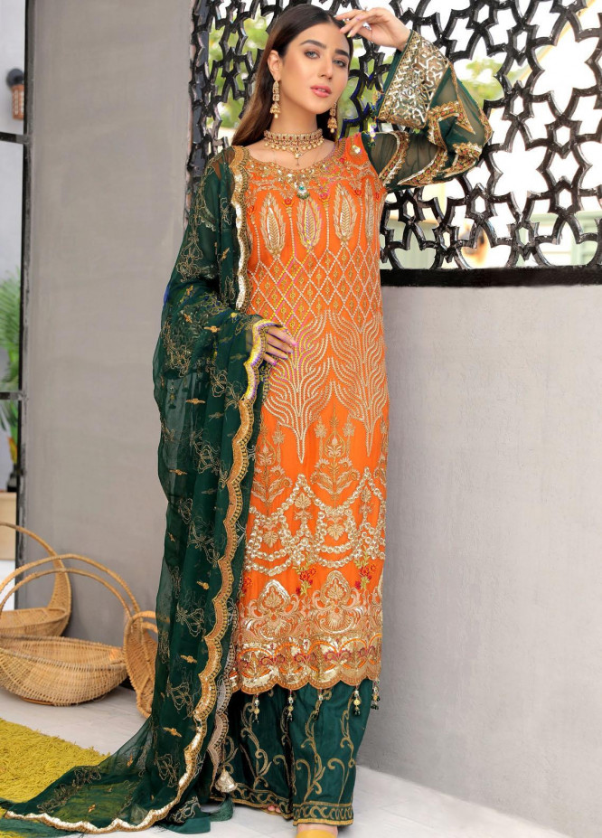 Areesha Embroidered Chiffon Suits Unstitched 3 Piece ARE21L-11 D-04 - Luxury Collection