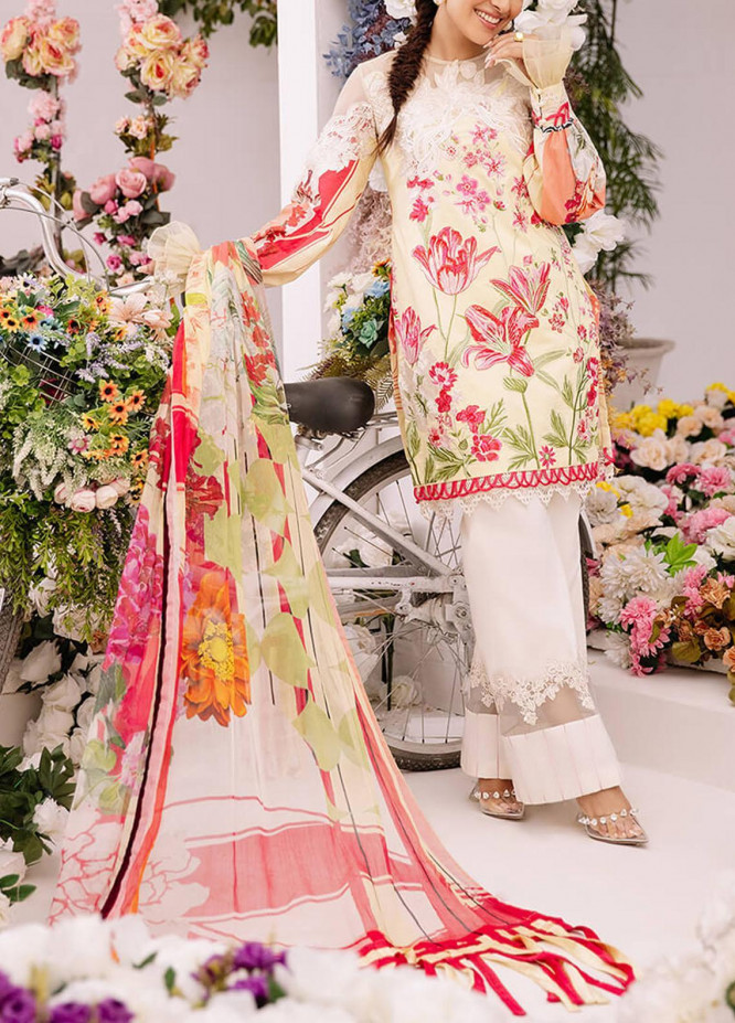 Ariana By Asifa & Nabeel Embroidered Lawn Suits Unstitched 3 Piece AN21A  AMOUR 4B - Luxury Collection