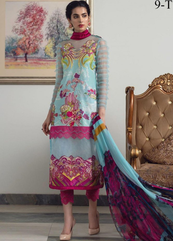 Lamour By Asifa & Nabeel Embroidered Lawn Suits Unstitched 3 Piece AN21L 9-T Rainbow Bouquet - Luxury Collection