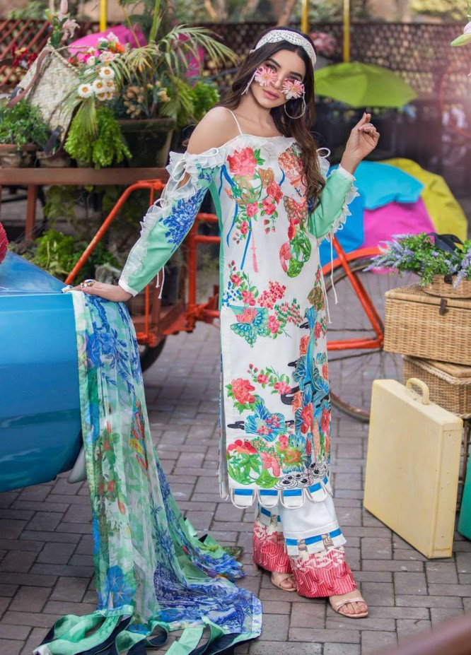 Liliana by Asifa & Nabeel Embroidered Lawn Suits Unstitched 3 Piece AN21SS 02 Nora - Spring / Summer Collection