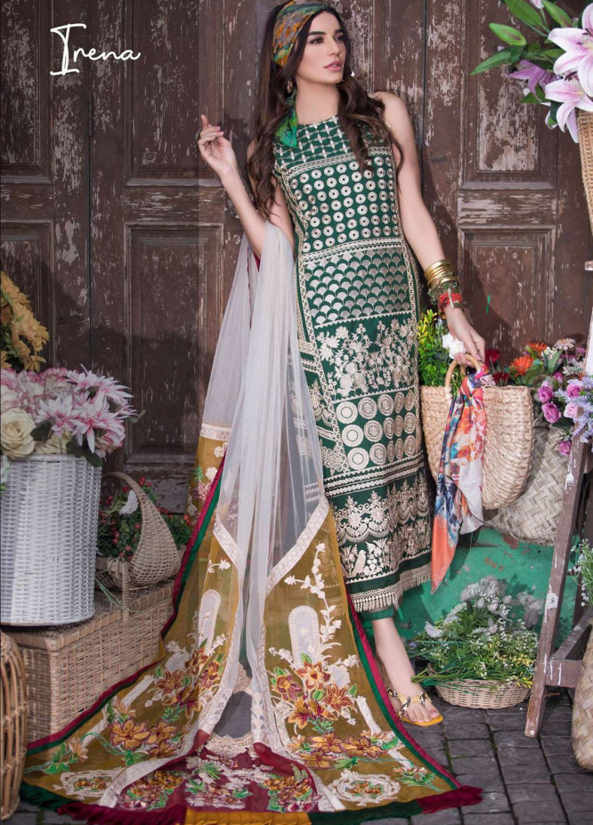 Liliana by Asifa & Nabeel Embroidered Lawn Suits Unstitched 3 Piece AN21SS 03 Irena - Spring / Summer Collection