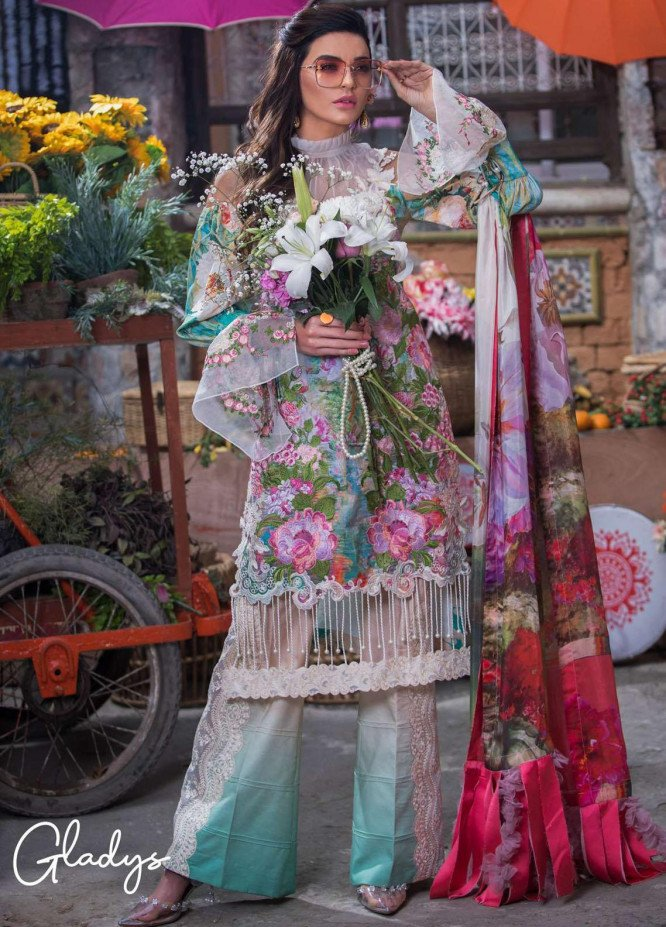 Liliana by Asifa & Nabeel Embroidered Lawn Suits Unstitched 3 Piece AN21SS 07 Gladys - Spring / Summer Collection