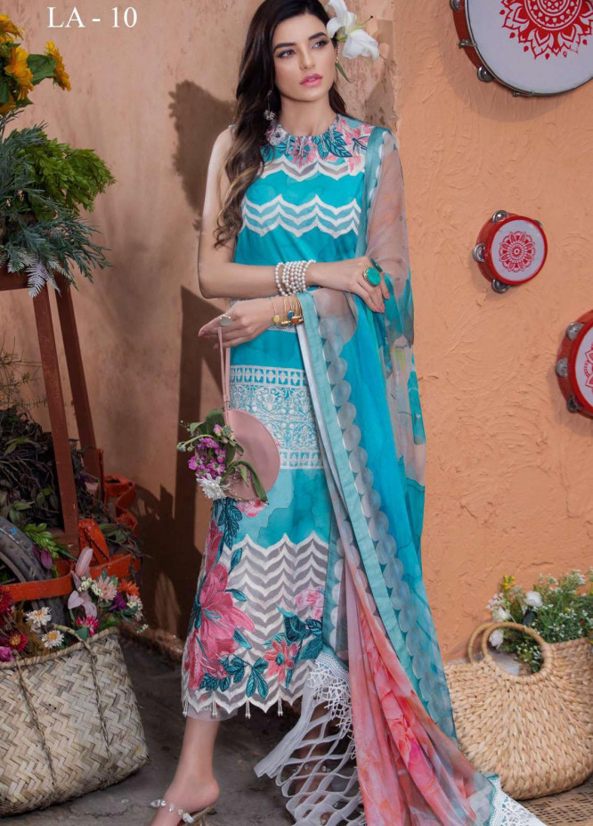 Liliana by Asifa & Nabeel Embroidered Lawn Suits Unstitched 3 Piece AN21SS 10 Emilia - Spring / Summer Collection
