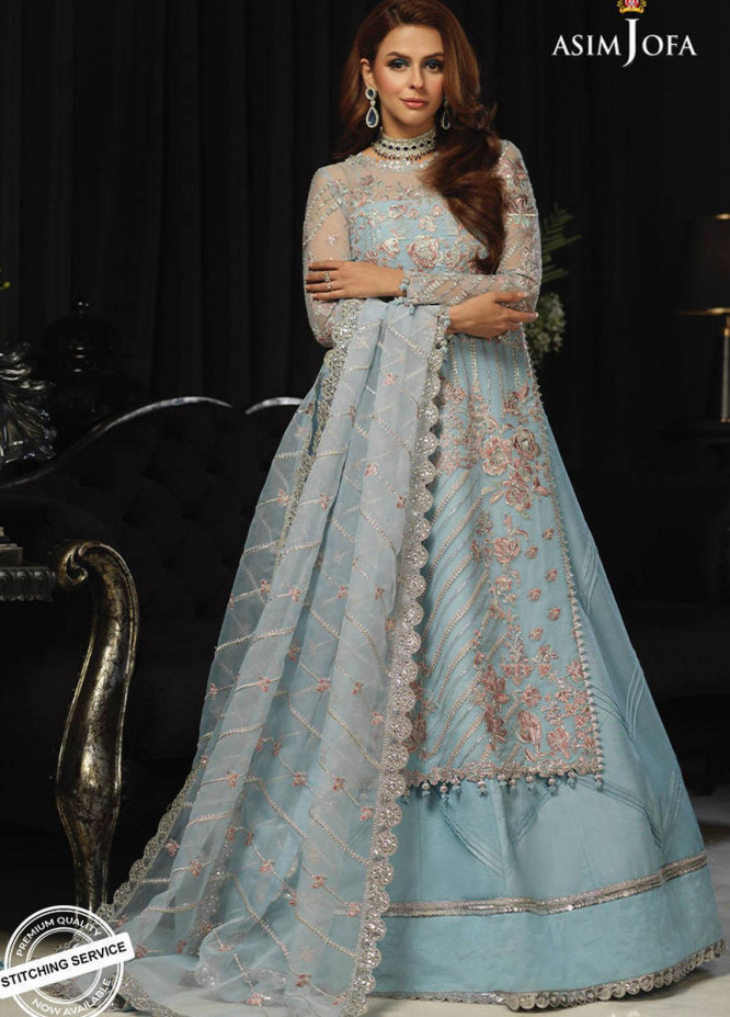 Asim Jofa Embroidered Organza Suits Unstitched 3 Piece AJ21IN AJN-15 - Luxury Formals Collection