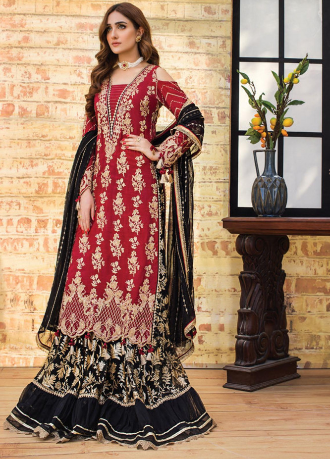 Asim Jofa Embroidered Raw Silk Suits Unstitched 3 Piece AJ21LE 11 - Luxury Collection