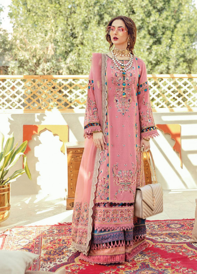 Rabt By Asim Jofa Embroidered Lawn Suits Unstitched 3 Piece AJ21RL 04 - Luxury Collection