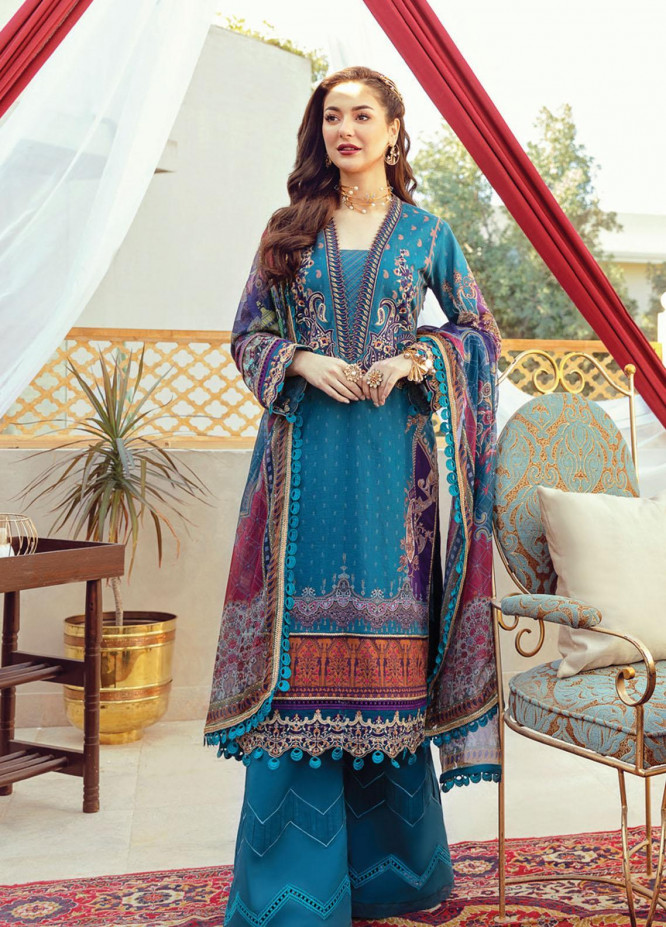 Rabt By Asim Jofa Embroidered Lawn Suits Unstitched 3 Piece AJ21RL 08 - Luxury Collection