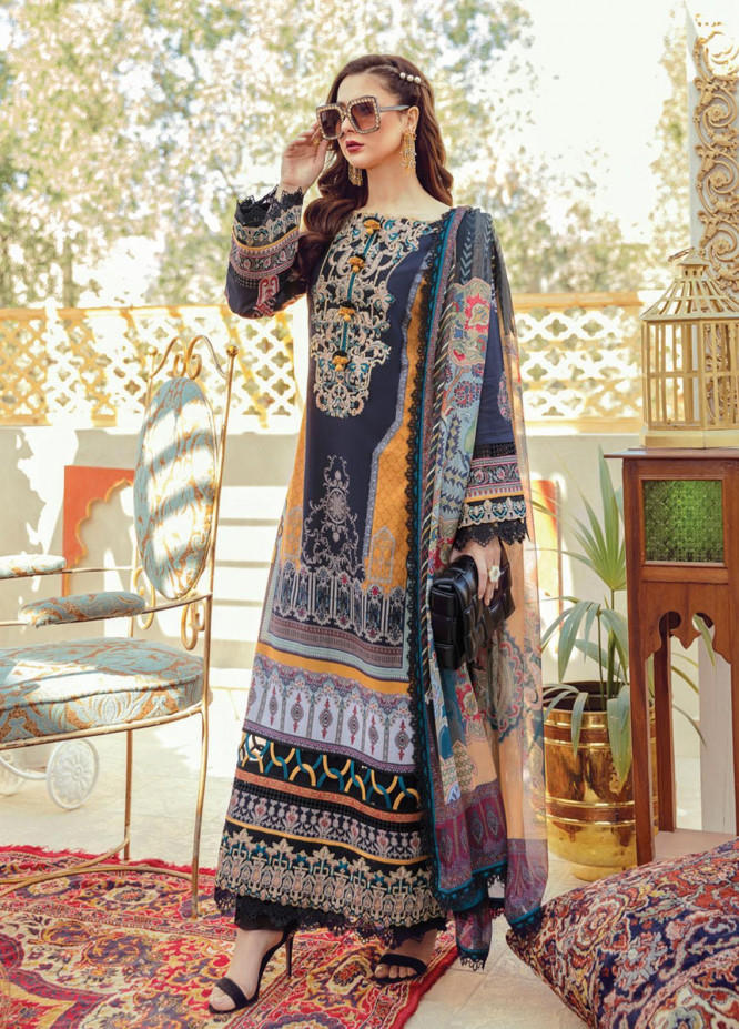 Rabt By Asim Jofa Embroidered Lawn Suits Unstitched 3 Piece AJ21RL 18 - Luxury Collection