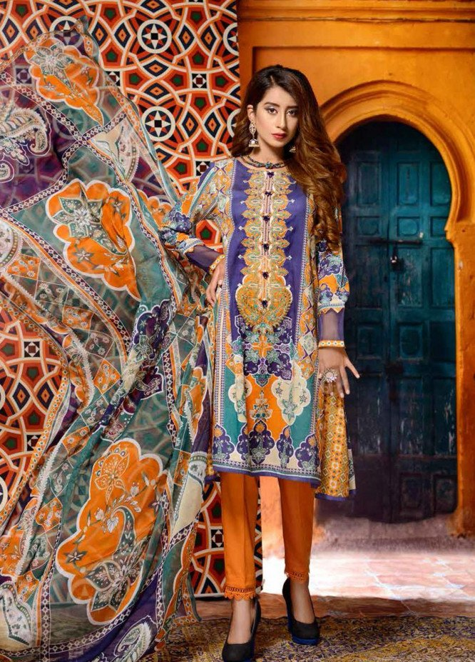 Azal By Zebaish Embroidered Lawn Suits Unstitched 3 Piece ZSH21A 02 - Summer Collection