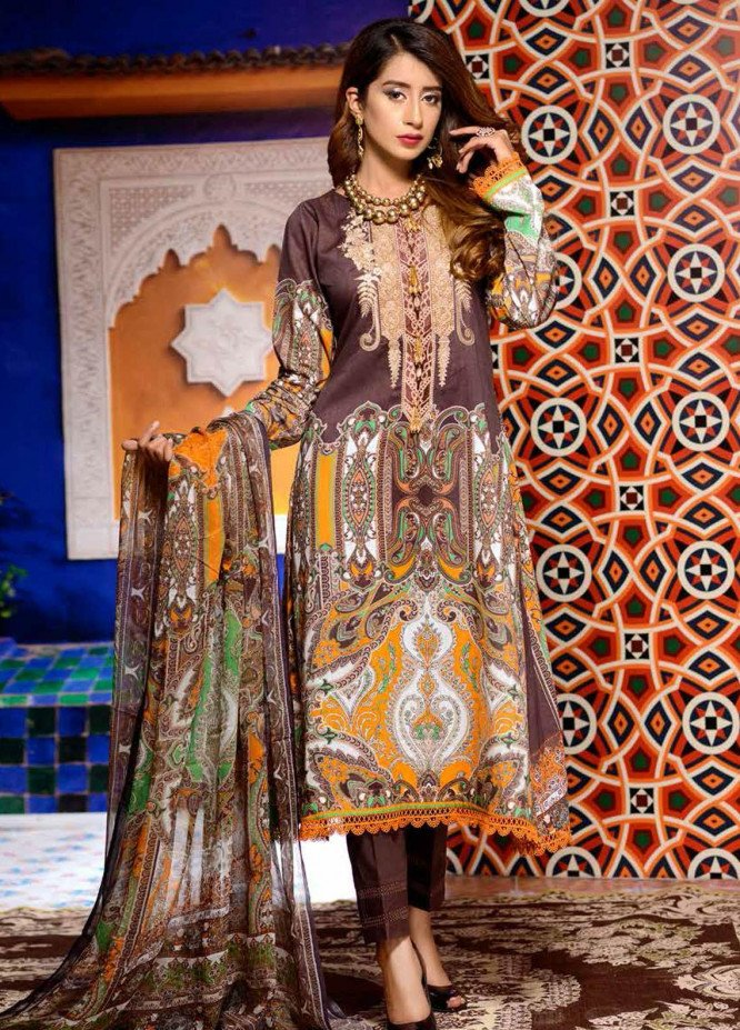 Azal By Zebaish Embroidered Lawn Suits Unstitched 3 Piece ZSH21A 04 - Summer Collection