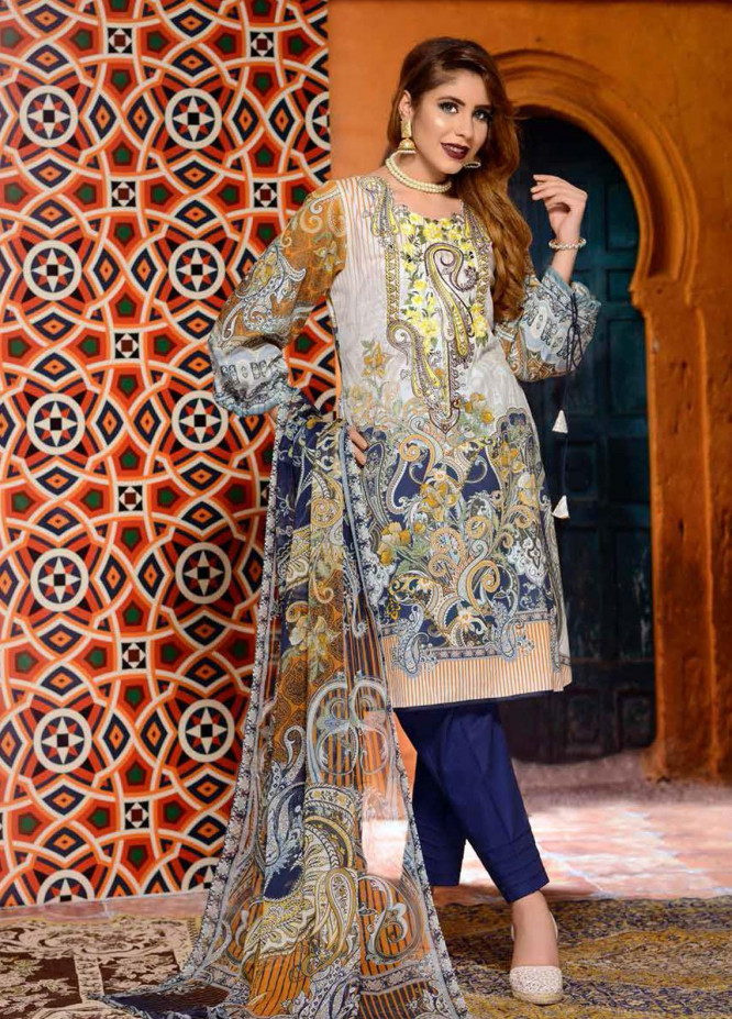 Azal By Zebaish Embroidered Lawn Suits Unstitched 3 Piece ZSH21A 07 - Summer Collection