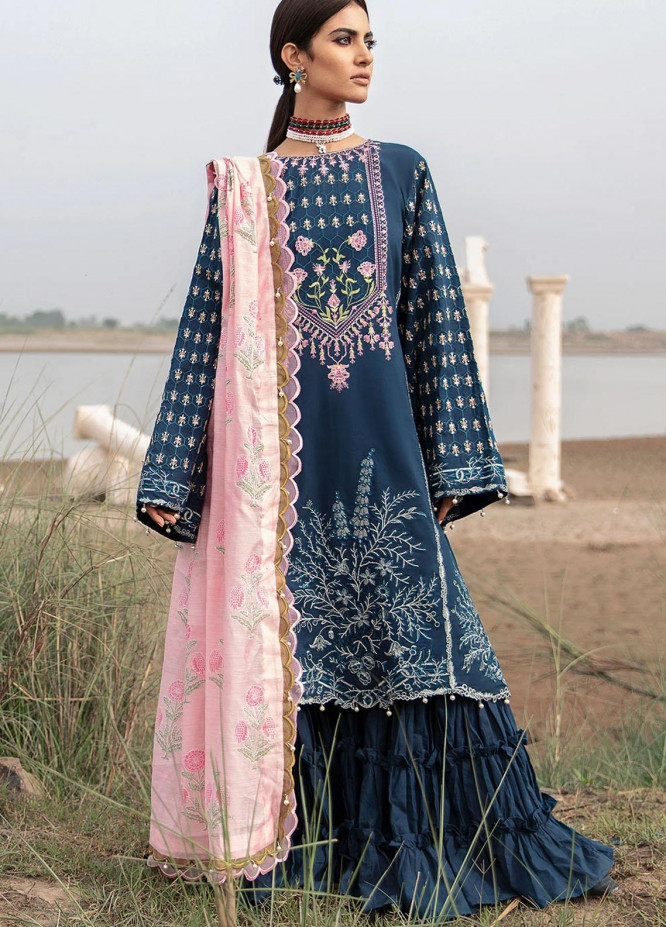 Azalea Embroidered Lawn Suits Unstitched 3 Piece AZA21F 04 Navy Blue - Festive Collection