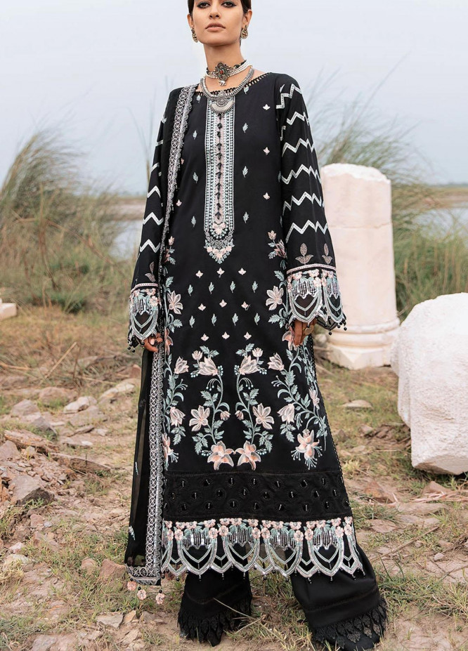 Azalea Embroidered Lawn Suits Unstitched 3 Piece AZA21F 09 Black - Festive Collection