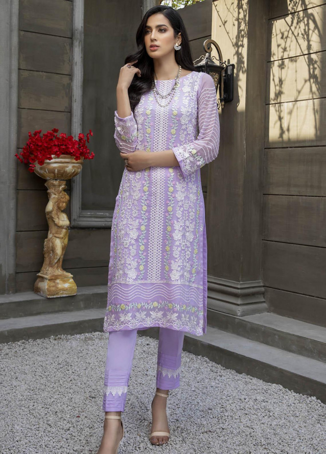 Azure Embroidered Chiffon  Unstitched Kurties AZU21-FK2 Lilac Charm - Luxury Formal Collection