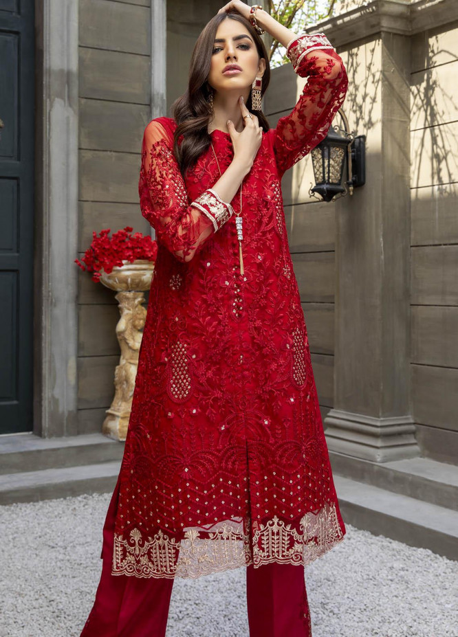 Azure Embroidered Net  Unstitched Kurties AZU21-FK2 Mulberry - Luxury Formal Collection
