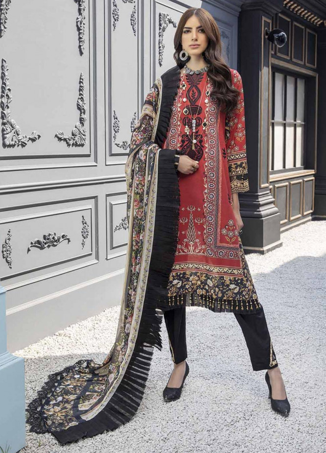 Azure Embroidered Lawn Suits Unstitched 3 Piece AZU21L Ruby Wood - Luxury Collection