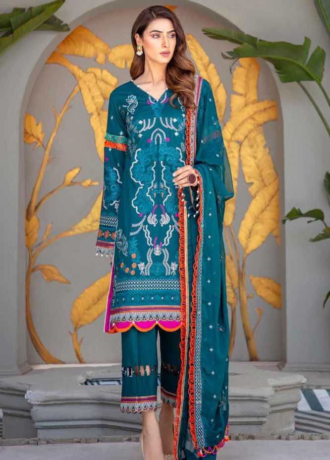 Banafsheh Embroidered Lawn Suits Unstitched 3 Piece BF21LF D-01 - Festive Collection