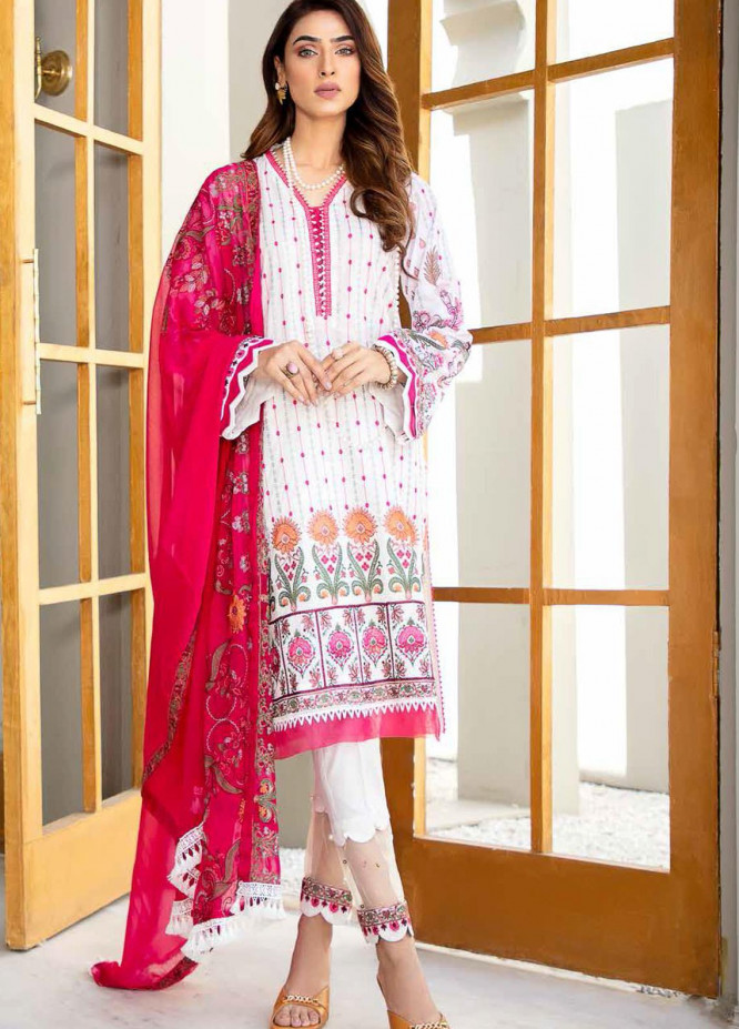 Banafsheh Embroidered Lawn Suits Unstitched 3 Piece BF21LF D-02 - Festive Collection