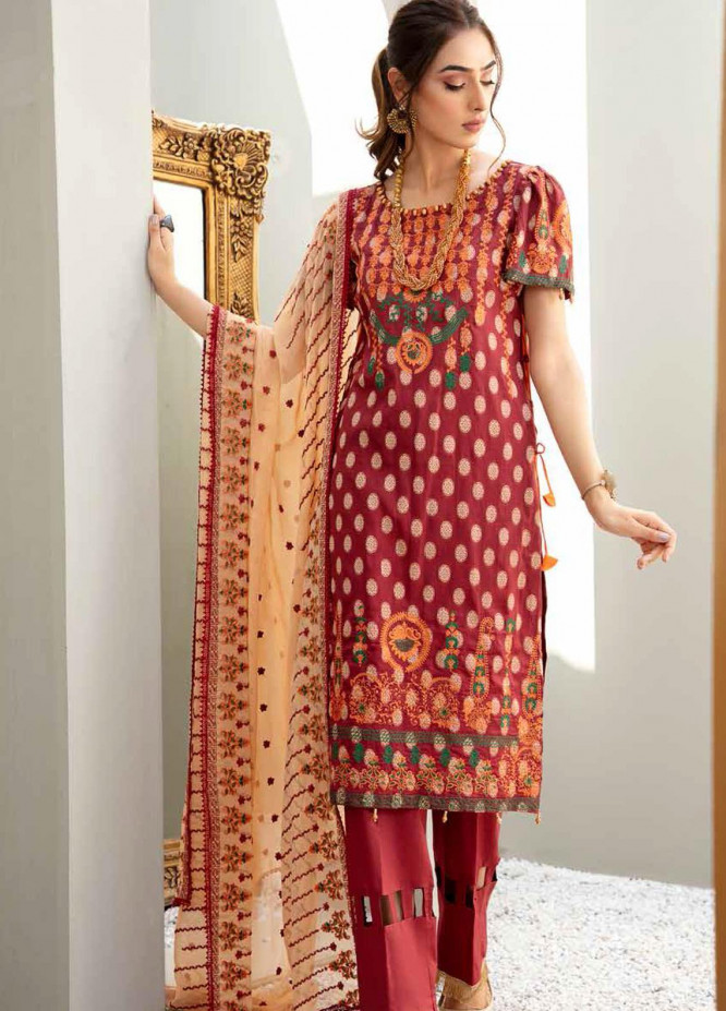 Banafsheh Embroidered Lawn Suits Unstitched 3 Piece BF21LF D-03 - Festive Collection
