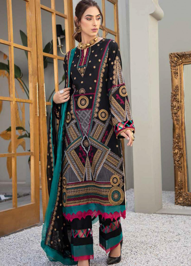 Banafsheh Embroidered Lawn Suits Unstitched 3 Piece BF21LF D-04 - Festive Collection