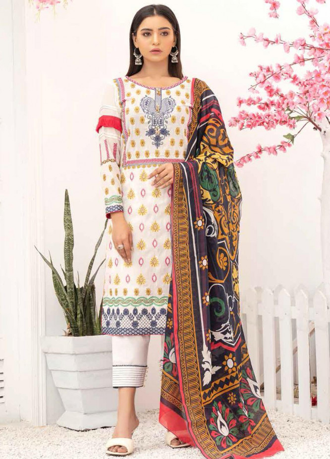 Banafsheh Embroidered Lawn Suits Unstitched 3 Piece BF21PE D-01 - Summer Collection