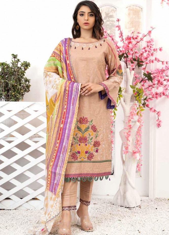 Banafsheh Embroidered Lawn Suits Unstitched 3 Piece BF21PE D-06 - Summer Collection