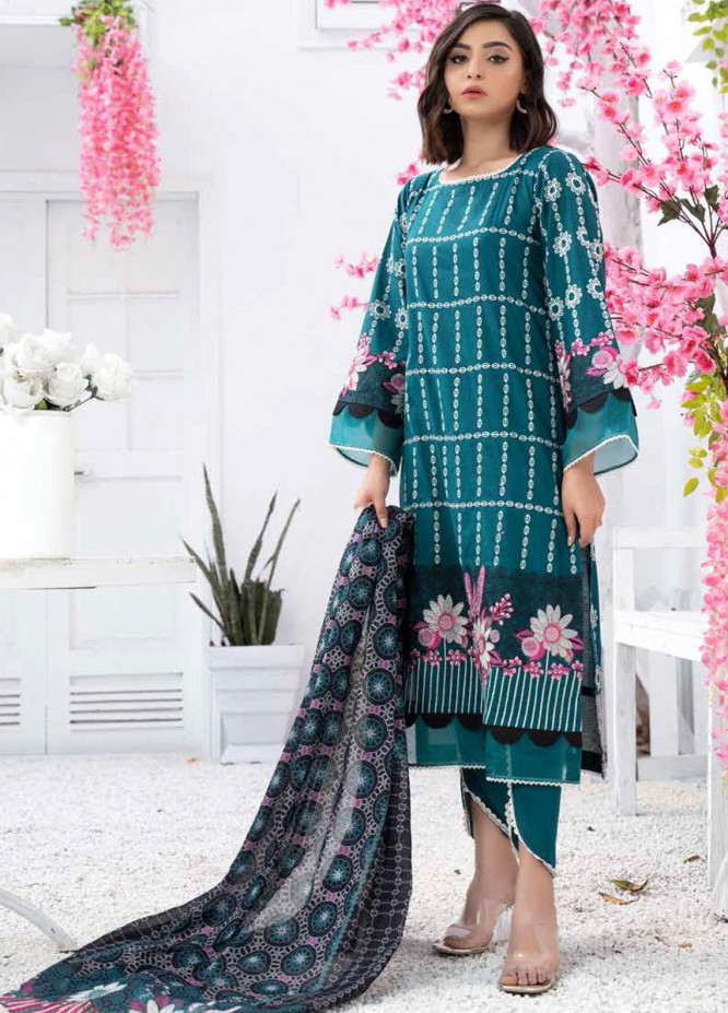 Banafsheh Embroidered Lawn Suits Unstitched 3 Piece BF21PE D-07 - Summer Collection