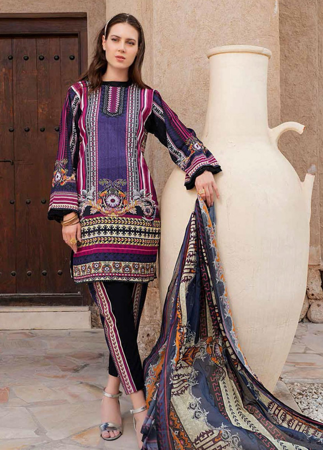 Banafsheh Printed Lawn Suits Unstitched 3 Piece BF21L 01 - Summer Collection