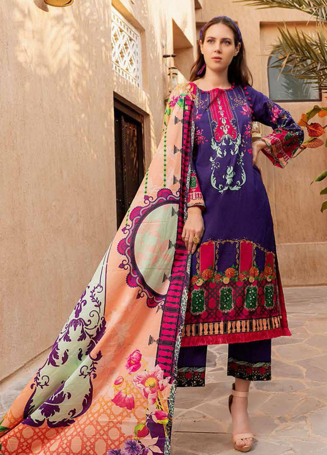 Banafsheh Printed Lawn Suits Unstitched 3 Piece BF21L 08 - Summer Collection