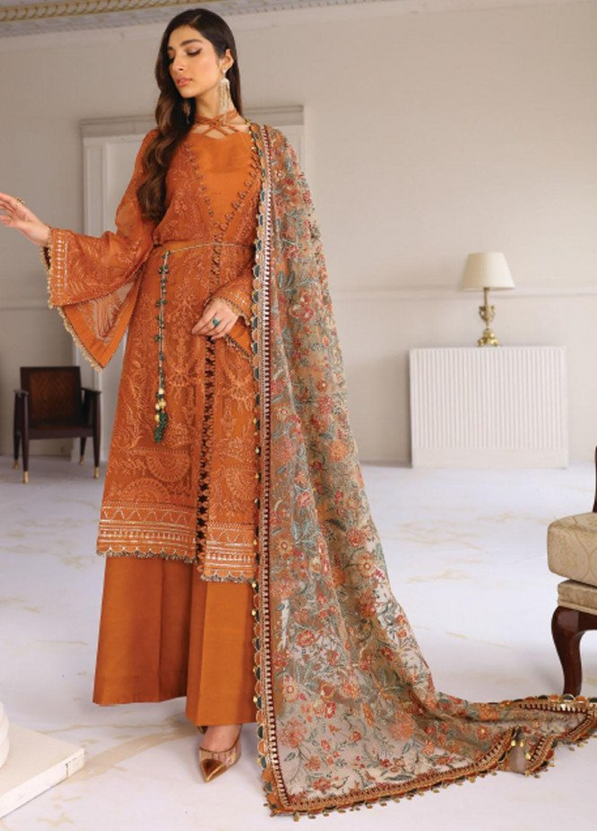 Chantelle By Baroque Embroidered Chiffon Unstitched 3 Piece Suit BQ21C 08 Crystal Sugar - Luxury Collection