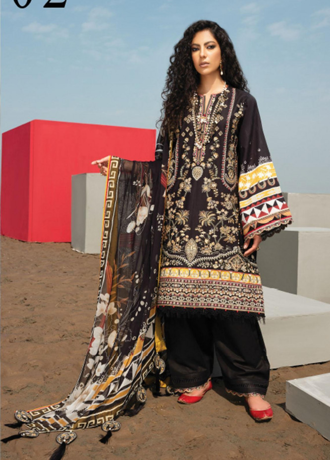 Baroque Embroidered Lawn Suits Unstitched 3 Piece BQ21SL 02 Lantana - Summer Collection