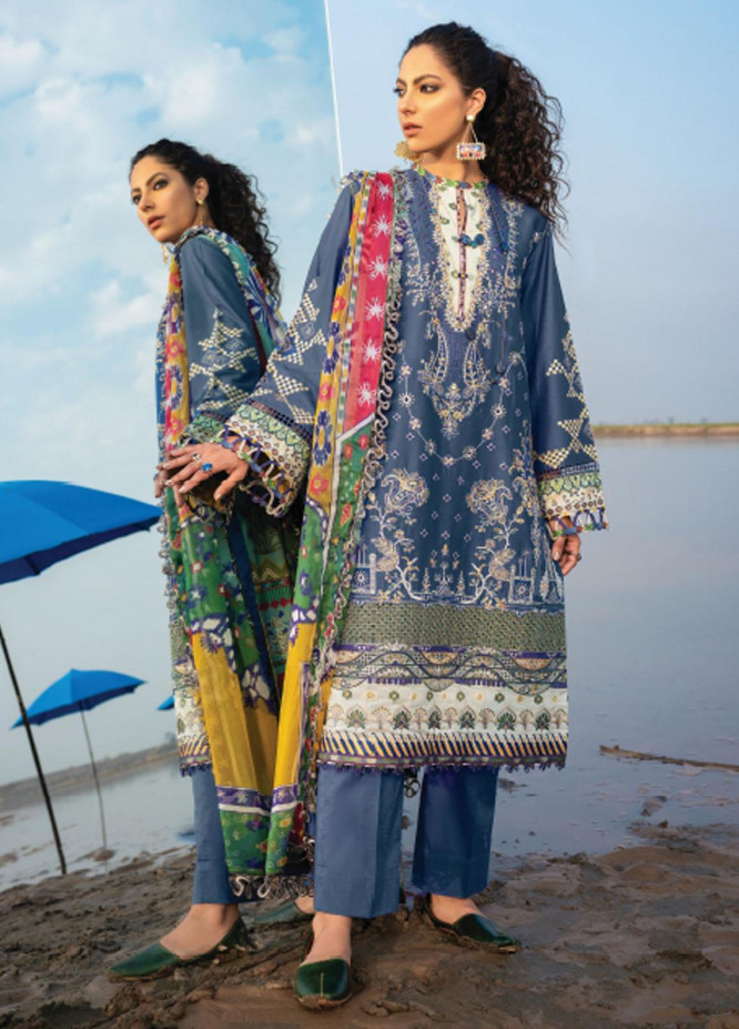 Baroque Embroidered Lawn Suits Unstitched 3 Piece BQ21SL 08 Leadwort - Summer Collection