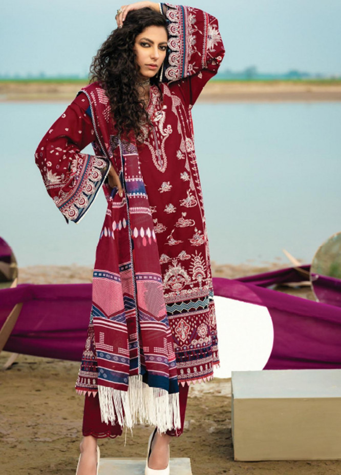 Baroque Embroidered Lawn Suits Unstitched 3 Piece BQ21SL 09 Coral Bell - Summer Collection
