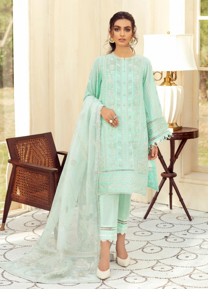 Sunheri Eid By Baroque Embroidered Lawn Suits Unstitched 3 Piece BQ21SE 05 Tanaz - Summer Collection