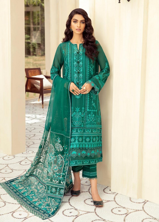 Sunheri Eid By Baroque Embroidered Lawn Suits Unstitched 3 Piece BQ21SE 08 Hanna - Summer Collection