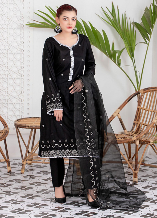 Black & White By ZS Textiles Embroidered Lawn Suits Unstitched 3 Piece ZS21BW-2 02 - Black & White Collection