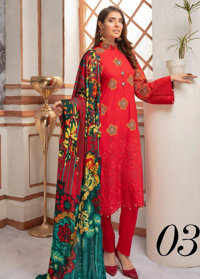 Riaz Arts Embroidered Leather Peach Unstitched 3 Piece Suit RA20PL BL-03 - Winter Collection
